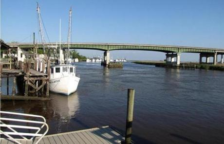 From the deck of Skippers' Fish Camp in Darien, Ga., diners can see the shrimp boats that ply the Darien River.
